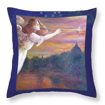 Romantic Paris Nocturne With Angel Throw Pillow