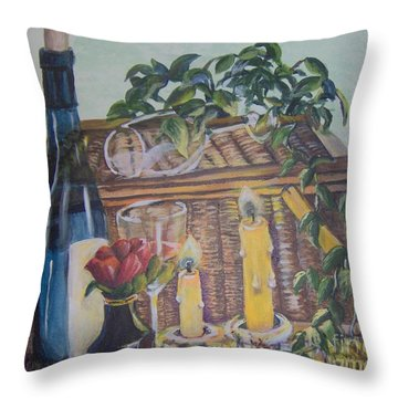 Throw Pillow featuring the painting Romantic Picnic by Saundra Johnson