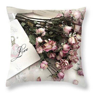 Throw Pillow featuring the photograph Romantic Pink Roses With Love Book - Shabby Chic Romantic Roses Love Books Decor Still Life  by Kathy Fornal