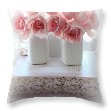 Romantic Pink Shabby Chic Roses Pink Books Hearts Valentine Print Home Decor  Throw Pillow