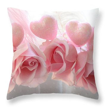 Romantic Pink Shabby Chic Valentine Hearts And Roses - Valentine Roses Pink And White Hearts Decor Throw Pillow