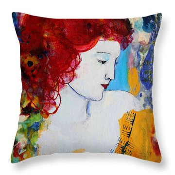 Romantic Read Heaired Woman Throw Pillow