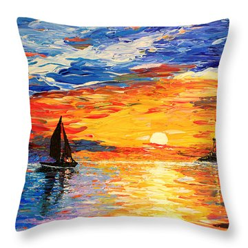 Throw Pillow featuring the painting Romantic Sea Sunset by Georgeta  Blanaru