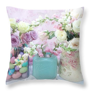 Shabby Chic Pastel Pink Lavender White Roses - Shabby Chic Roses Cottage Floral Print - Easter Throw Pillow