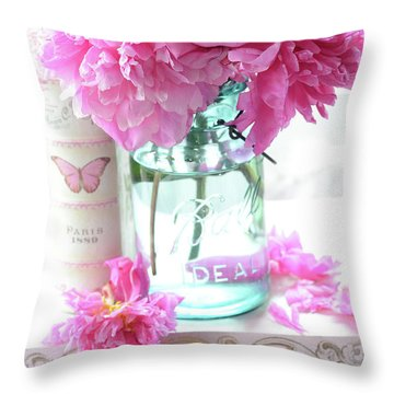 Romantic Shabby Chic Pink Peonies Aqua Mason Jars Floral Decor - Pink Peonies In Ball Jar Throw Pillow