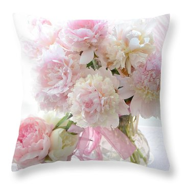 Romantic Shabby Chic Pink White Peonies - Shabby Chic Peonies Pastel Decor Throw Pillow by Kathy Fornal