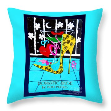 Throw Pillow featuring the painting Romantic Shoe by Don Pedro De Gracia