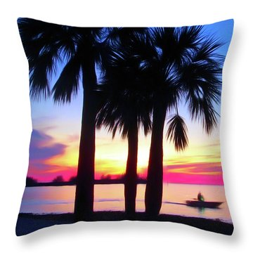 Throw Pillow featuring the photograph Romantic Skies Beach Sunset by Aimee L Maher Photography and Art Visit ALMGallerydotcom