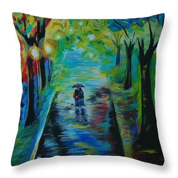 Throw Pillow featuring the painting Romantic Stroll by Leslie Allen