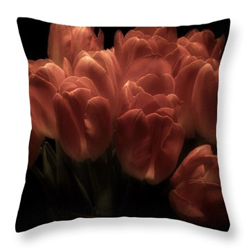 Romantic Tulips Throw Pillow by Richard Cummings