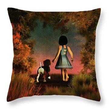 Romantic Walk In The Woods Throw Pillow