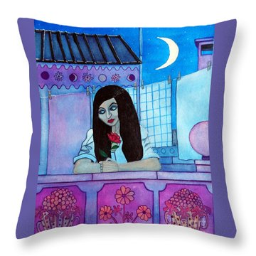 Throw Pillow featuring the painting Romantic Woman In The Terrace At Night by Don Pedro De Gracia