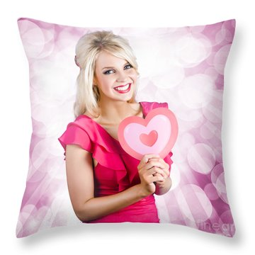Romantic Woman With Heart Shape Valentine Card Throw Pillow