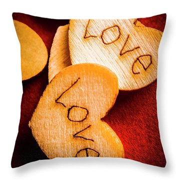 Romantic Wooden Hearts Throw Pillow