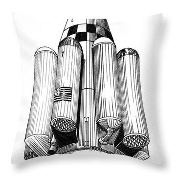Rombus Heavey Lift Reusable Rocket Throw Pillow by Jack Pumphrey