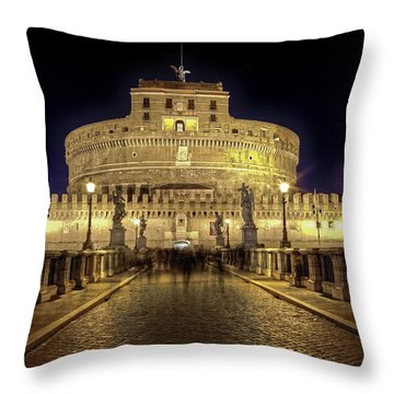 Rome Castel Sant Angelo Throw Pillow by Joana Kruse