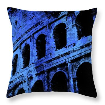 Rome - Colosseum In Blue Throw Pillow by Andrea Mazzocchetti
