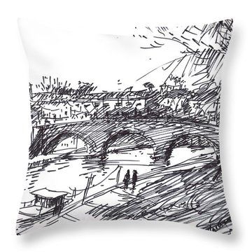 River Drawings Throw Pillows