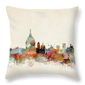 Throw Pillow featuring the painting Rome Italy Skyline by Bri B