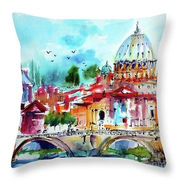 Rome Saint Peter Basilica St Angelo Bridge Throw Pillow