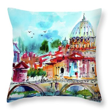 Rome Saint Peter Basilica St Angelo Bridge Throw Pillow