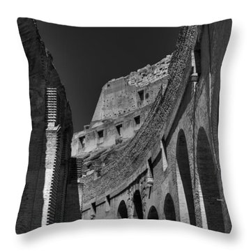 Throw Pillow featuring the photograph Rome - The Colosseum 001 Bw by Lance Vaughn