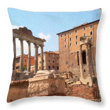 Rome The Eternal City And Temples Throw Pillow