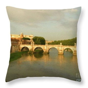 Rome The Eternal City And Tiber River Throw Pillow