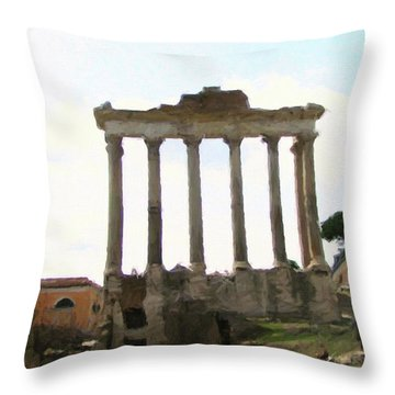 Throw Pillow featuring the mixed media Rome The Eternal City by Rosario Piazza