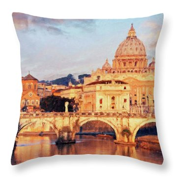 Throw Pillow featuring the mixed media Rome The Eternal City - Saint Peter From The Tiber by Rosario Piazza