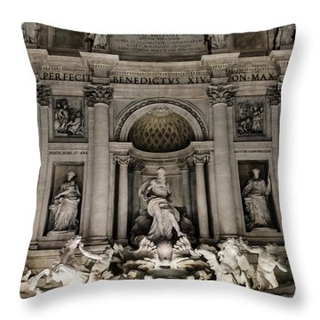 Rome - The Trevi Fountain At Night 3 Throw Pillow