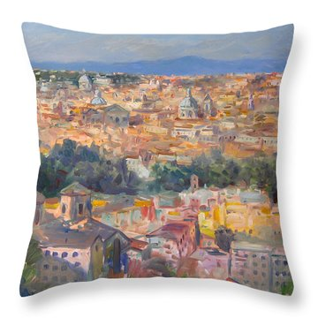 Rome View From Gianicolo Throw Pillow