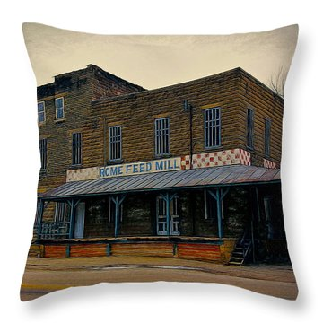 Throw Pillow featuring the photograph Rome Wisconsin Feed Mill by Clare VanderVeen