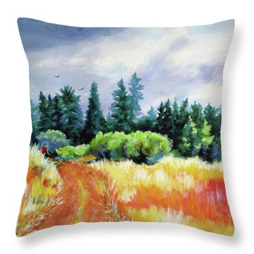 Throw Pillow featuring the painting Romp On The Hill by Kathy Braud