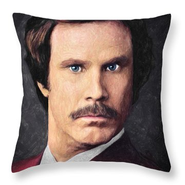 Ron Burgundy Throw Pillow by Taylan Apukovska