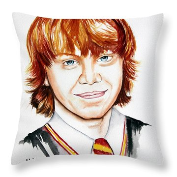 Ron Weasley Throw Pillow by Maria Barry