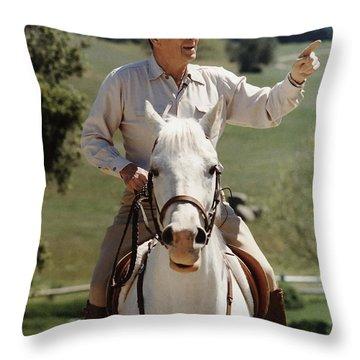 Ronald Reagan On Horseback  Throw Pillow