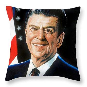 Ronald Reagan Portrait Throw Pillow by Robert Korhonen
