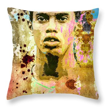 Ronaldinho Gaucho Throw Pillow by Svelby Art