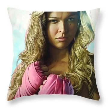 Throw Pillow featuring the painting Ronda Rousey Artwork  by Sheraz A