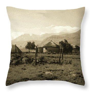 Rondavel In The Drakensburg Throw Pillow