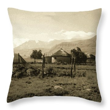 Rondavel In The Drakensburg Throw Pillow