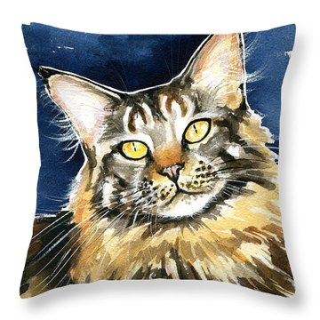 Ronja - Maine Coon Cat Painting Throw Pillow