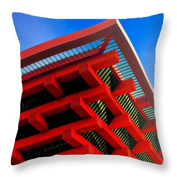 Roof Corner - Expo China Pavilion Shanghai Throw Pillow by Christine Till