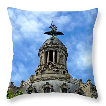 Roof Top Statue Throw Pillow