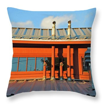 Throw Pillow featuring the mixed media Roofline Geometry by Lynda Lehmann