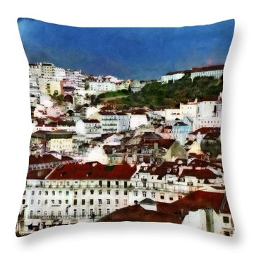 Throw Pillow featuring the photograph Roofs Of Lisbon by Dariusz Gudowicz