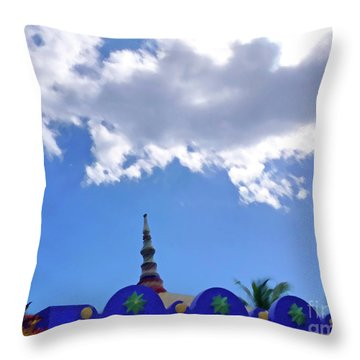 Throw Pillow featuring the digital art Rooftop And Sky by Francesca Mackenney
