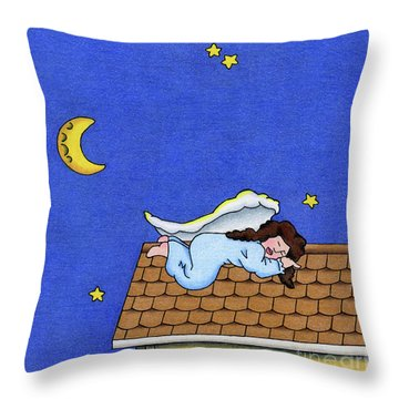 Rooftop Sleeper Throw Pillow by Sarah Batalka