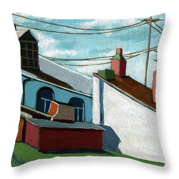 Throw Pillow featuring the painting Rooftops by Linda Apple